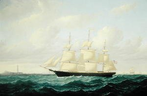 William Bradford - 'Dashing Wave' clipper ship off Boston Light, 1855