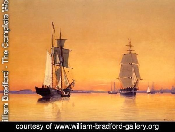 William Bradford - Ships in Boston Harbor at Twilight
