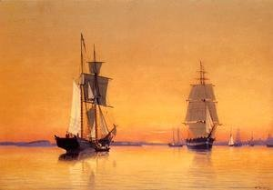 Ships in Boston Harbor at Twilight