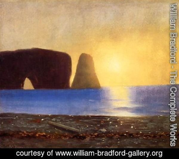 William Bradford - The Sun Sets, Perce Rock, Gaspe, Quebec