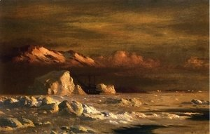 William Bradford - Ship and Icebergs