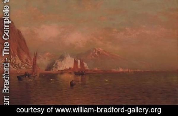 William Bradford - Labrador Mountain and Icebergs by Light of the Midnight Sun