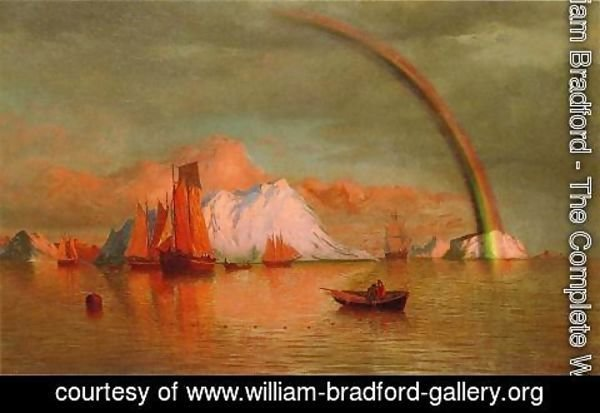 William Bradford - Arctic Sunset With Rainbow