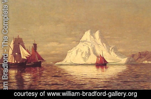 William Bradford - Ships And Iceberg